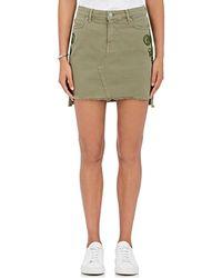 Sandrine Rose - Appliquéd Cotton Denim Miniskirt - Lyst