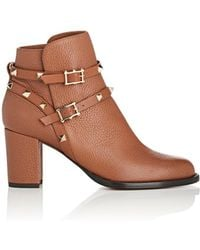 Valentino - Rockstud Leather Double-strap Boots - Lyst