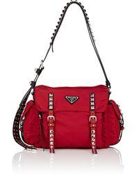 4d2b3d26e22b Lyst - Prada Leather City Saddle Bag in Brown