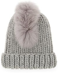 cd13038e796 Eugenia Kim Rain Faux Fur-trimmed Cable-knit Wool Beanie in Gray - Lyst
