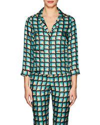 Barneys New York - Geometric Silk Pyjama Blouse - Lyst