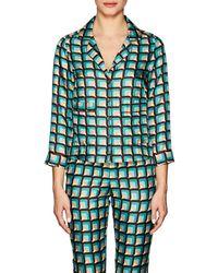 Barneys New York - Geometric Silk Pyjama Blouse Size 40 It - Lyst