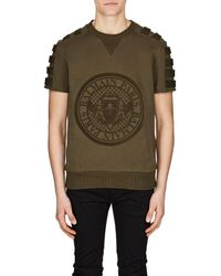 Balmain - Flocked-logo Cotton Sweatshirt - Lyst