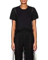 Noir Kei Ninomiya - Embellished Cotton Jersey T - Lyst