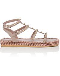 Valentino - Rockstud Torchon Leather Platform Sandals - Lyst