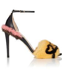 Fendi - Fur-trimmed Leather Sandals - Lyst