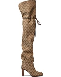 Gucci - Canvas Over-the-knee Boots - Lyst