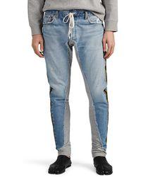 Greg Lauren Mixed-media Cotton Jogger Pants - Blue
