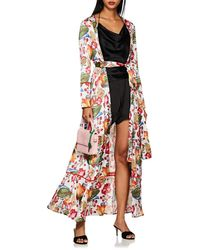We Are Leone - Floral Silk Charmeuse Robe Size S/m - Lyst