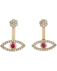 Feathered Soul - White Diamond & Ruby Ear Jackets - Lyst