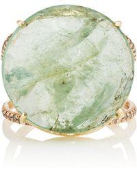 Zoe - White Diamond & Emerald Ring - Lyst