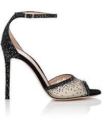Gianvito Rossi - Crystal-embellished Mesh & Suede Ankle-strap Sandals - Lyst