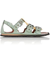 Miu Miu - Colorblocked Patent Leather Sandals - Lyst