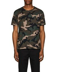 Valentino - Studded Camouflage Cotton T-shirt - Lyst