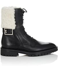 Givenchy - Shearling-trimmed Leather Combat Boots - Lyst