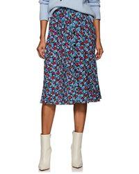 Robert Rodriguez Juli Floral Crepe Midi-skirt - Blue