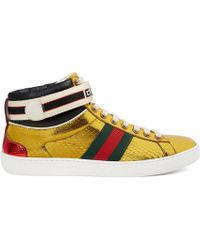 Gucci - New Ace Metallic Snakeskin Sneakers - Lyst