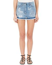 Valentino - Butterfly Appliqué Denim Shorts - Lyst
