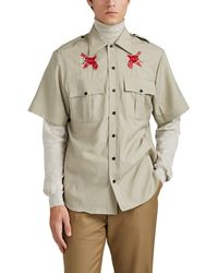 Lanvin - Bird-embroidered Virgin Wool Plain-weave Military Shirt - Lyst