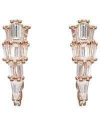 Nak Armstrong - White Diamond & Rose Gold Ear Cuffs - Lyst