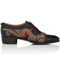 Gucci - Embroidered Dragon Leather Bluchers - Lyst