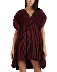 Valentino Pleated Faille Cape-back Cocktail Dress - Red