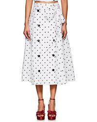 Lisa Marie Fernandez - Diana Polka Dot Linen Midi-skirt - Lyst