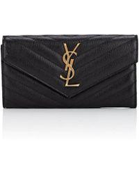 Saint Laurent - Monogram Large Leather Envelope Wallet - Lyst