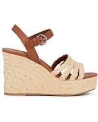 Prada - Leather And Woven Raffia Espadrille Wedge Sandals - Lyst