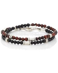 Caputo & Co. - Tiger's-eye & Onyx Beaded Wrap Bracelet - Lyst
