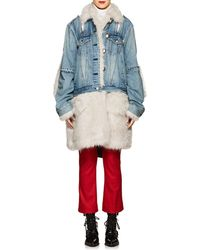 Sacai - Faux-fur-trimmed Denim Coat - Lyst
