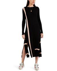 Loewe - Striped Rib-knit Cotton Fitted Dress - Lyst