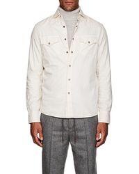 Brunello Cucinelli - Western-style Cotton Twill Shirt - Lyst
