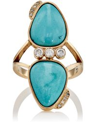 Feathered Soul - White Diamond & Sleeping Beauty Turquoise Ring - Lyst