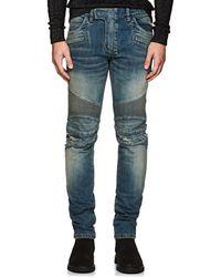 Balmain - Distressed Slim Biker Jeans - Lyst