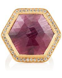 Malcolm Betts - Hexagonal Ruby & White Diamond Ring - Lyst