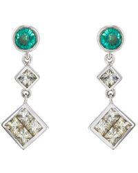 Ileana Makri - Emerald & White Sapphire Drop Earrings - Lyst
