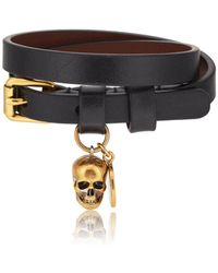 Alexander McQueen - Leather Double-wrap Bracelet - Lyst