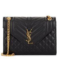 10bbbb72bc Lyst - Saint Laurent Medium Monogram Leather Envelope Chain Shoulder ...