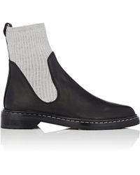 The Row - Fara Knit & Leather Ankle Boots - Lyst