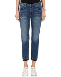 Current/Elliott - The High Waist Cropped Straight Jeans - Lyst