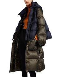 Sacai Vest-overlay Down-quilted Puffer Coat - Green