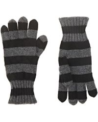 Barneys New York Striped Cashmere Gloves - Black