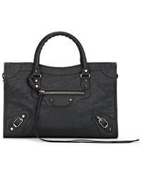 cda05fbbe98f Lyst - Balenciaga Arena Leather Classic Nano City Bag in Gray