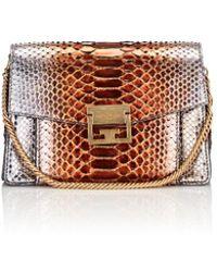 9af173f682c2 Lyst - Givenchy Small Gv3 Python Shoulder Bag in Brown