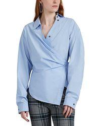 Cedric Charlier Draped Cotton Poplin Shirt - Blue