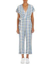 Ace & Jig - Embroidered Plaid Cotton Wrap Jumpsuit - Lyst
