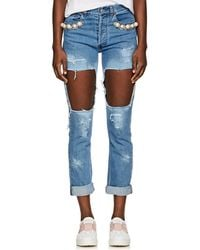Forte Couture - Embellished Distressed Skinny Jeans - Lyst