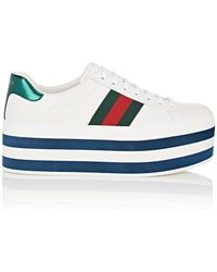 Gucci - New Ace Leather Platform Sneakers - Lyst