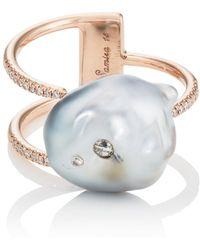 samira 13 keshi pearl u0026 white diamond cuff ring lyst